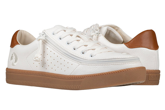 Men's White BILLY Low Sneakers, zipper shoes, like velcro, that are adaptive, accessible, inclusive and use universal design to accommodate an afo. Footwear is medium and wide width, M, D and EEE, are comfortable, and come in toddler, kids, mens, and womens sizing.