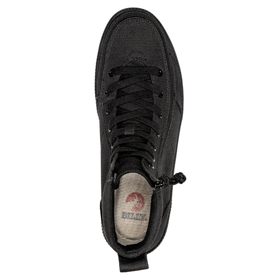 Men's Black to the Floor BILLY Classic Lace Highs (New Outsole), zipper shoes, like velcro, that are adaptive, accessible, inclusive and use universal design to accommodate an afo. Footwear is medium and wide width, M, D and EEE, are comfortable, and come in toddler, kids, mens, and womens sizing.