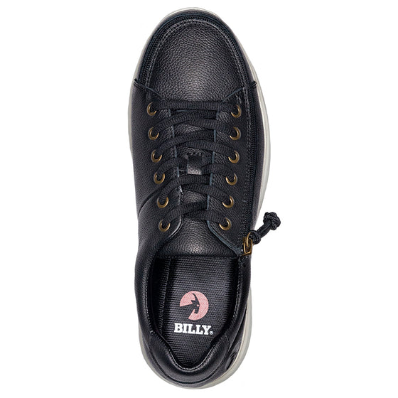 Men's Black Leather BILLY Comfort Lows, zipper shoes, like velcro, that are adaptive, accessible, inclusive and use universal design to accommodate an afo. Footwear is medium and wide width, M, D and EEE, are comfortable, and come in toddler, kids, mens, and womens sizing.