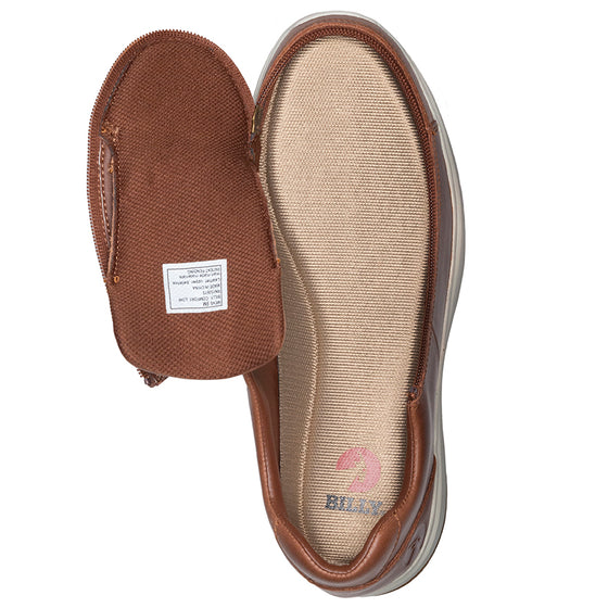Men's Brown Leather BILLY Comfort Lows, zipper shoes, like velcro, that are adaptive, accessible, inclusive and use universal design to accommodate an afo. Footwear is medium and wide width, M, D and EEE, are comfortable, and come in toddler, kids, mens, and womens sizing.