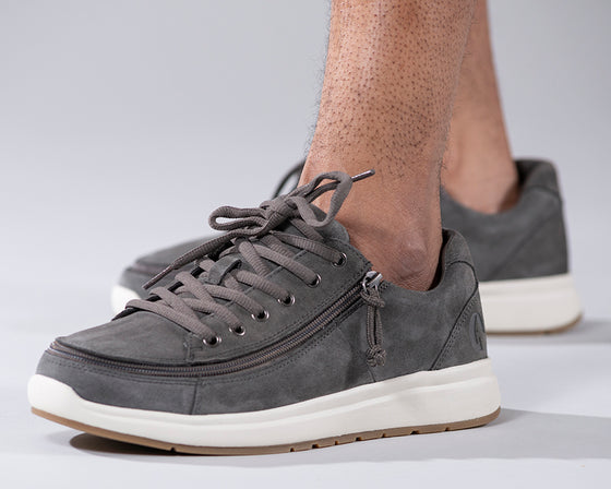 Men's Grey Suede BILLY Comfort Lows, zipper shoes, like velcro, that are adaptive, accessible, inclusive and use universal design to accommodate an afo. Footwear is medium and wide width, M, D and EEE, are comfortable, and come in toddler, kids, mens, and womens sizing.
