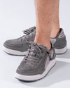 Men's Charcoal Suede/Mesh BILLY Comfort Classic Lows, zipper shoes, like velcro, that are adaptive, accessible, inclusive and use universal design to accommodate an afo. Footwear is medium and wide width, M, D and EEE, are comfortable, and come in toddler, kids, mens, and womens sizing.
