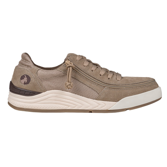 Men's Tan Suede/Mesh BILLY Comfort Classic Lows, zipper shoes, like velcro, that are adaptive, accessible, inclusive and use universal design to accommodate an afo. Footwear is medium and wide width, M, D and EEE, are comfortable, and come in toddler, kids, mens, and womens sizing.