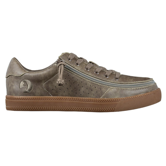 Men's Olive BILLY Sneaker Lows, zipper shoes, like velcro, that are adaptive, accessible, inclusive and use universal design to accommodate an afo. Footwear is medium and wide width, M, D and EEE, are comfortable, and come in toddler, kids, mens, and womens sizing.