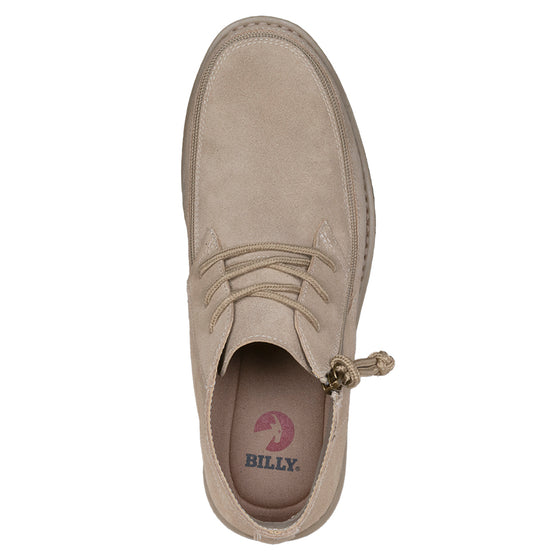 Men's Tan BILLY Chukkas, zipper shoes, like velcro, that are adaptive, accessible, inclusive and use universal design to accommodate an afo. Footwear is medium and wide width, M, D and EEE, are comfortable, and come in toddler, kids, mens, and womens sizing.