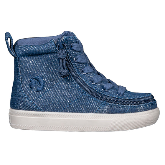 Toddler Blue Denim Glitter BILLY Classic Lace Highs, zipper shoes, like velcro, that are adaptive, accessible, inclusive and use universal design to accommodate an afo. Footwear is medium and wide width, M, D and EEE, are comfortable, and come in toddler, kids, mens, and womens sizing.