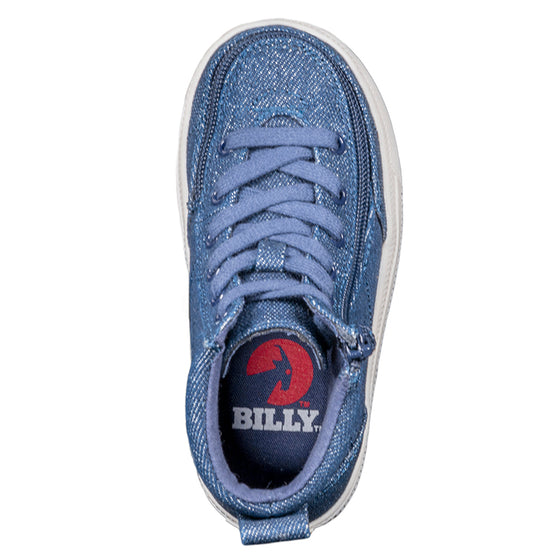 Toddler Blue Denim Glitter BILLY Classic Lace Highs - BILLY Footwear®
