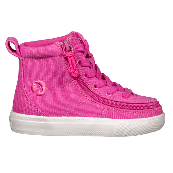 Toddler Pink Raspberry BILLY Classic Lace Highs, zipper shoes, like velcro, that are adaptive, accessible, inclusive and use universal design to accommodate an afo. Footwear is medium and wide width, M, D and EEE, are comfortable, and come in toddler, kids, mens, and womens sizing.