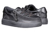 Toddler Black to the Floor Faux Leather BILLY Classic Lace Lows, zipper shoes, like velcro, that are adaptive, accessible, inclusive and use universal design to accommodate an afo. Footwear is medium and wide width, M, D and EEE, are comfortable, and come in toddler, kids, mens, and womens sizing.