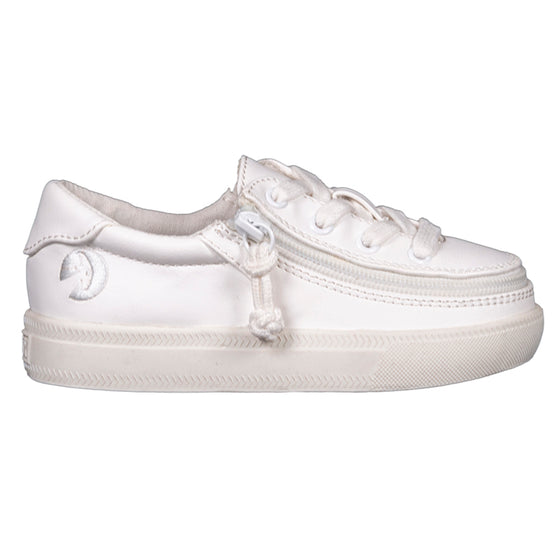 Toddler White Faux Leather BILLY Classic Lace Lows, zipper shoes, like velcro, that are adaptive, accessible, inclusive and use universal design to accommodate an afo. Footwear is medium and wide width, M, D and EEE, are comfortable, and come in toddler, kids, mens, and womens sizing.