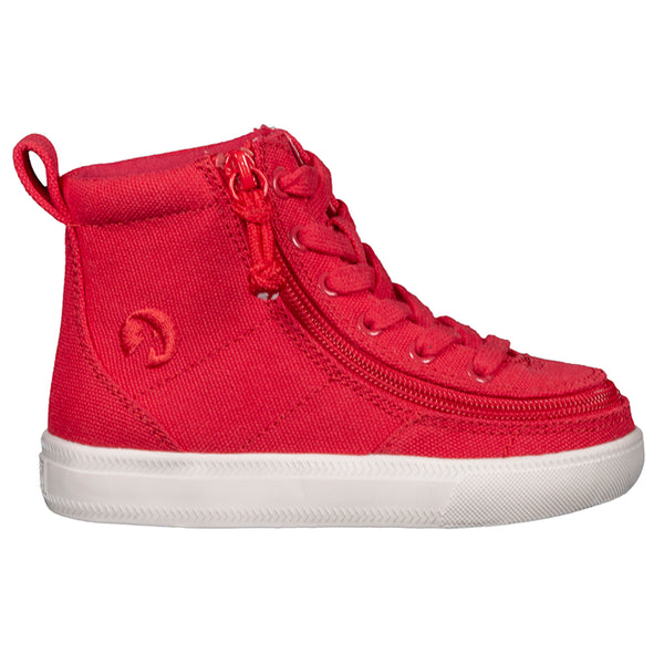 Toddler Red BILLY Classic Lace High, zipper, shoes, velcro, adaptive, accessible, afo, universal, kids, comfortable, BILLY Footwear