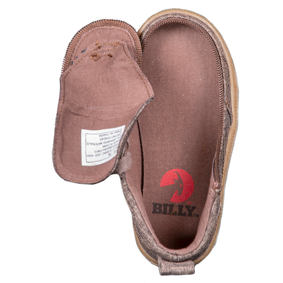 Toddler Brown Jersey BILLY Classic Lace Highs, zipper shoes, like velcro, that are adaptive, accessible, inclusive and use universal design to accommodate an afo. Footwear is medium and wide width, M, D and EEE, are comfortable, and come in toddler, kids, mens, and womens sizing.