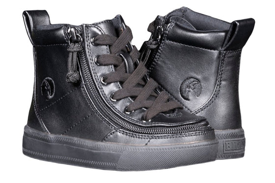 Toddler Black to the Floor Faux Leather BILLY Classic Lace Highs, zipper shoes, like velcro, that are adaptive, accessible, inclusive and use universal design to accommodate an afo. Footwear is medium and wide width, M, D and EEE, are comfortable, and come in toddler, kids, mens, and womens sizing.