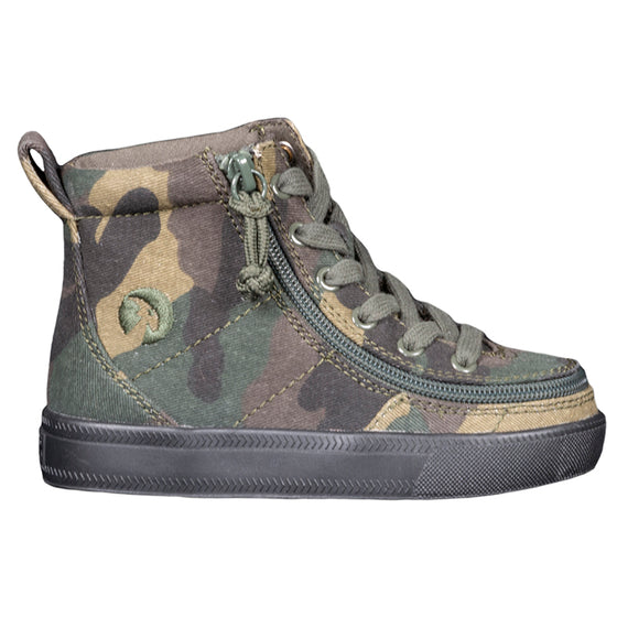 Toddler Green Camo BILLY Classic Lace Highs, zipper shoes, like velcro, that are adaptive, accessible, inclusive and use universal design to accommodate an afo. Footwear is medium and wide width, M, D and EEE, are comfortable, and come in toddler, kids, mens, and womens sizing.