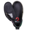 Toddler Black Hearts BILLY Classic Lace Highs, zipper shoes, like velcro, that are adaptive, accessible, inclusive and use universal design to accommodate an afo. Footwear is medium and wide width, M, D and EEE, are comfortable, and come in toddler, kids, mens, and womens sizing.