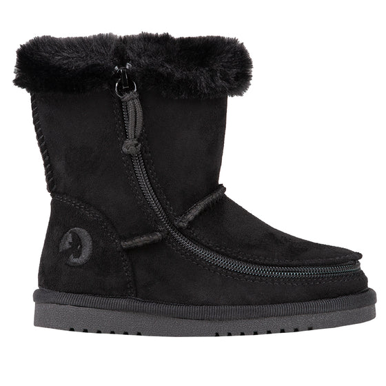 Toddler Black BILLY Cozy Boots, zipper shoes, like velcro, that are adaptive, accessible, inclusive and use universal design to accommodate an afo. Footwear is medium and wide width, M, D and EEE, are comfortable, and come in toddler, kids, mens, and womens sizing.