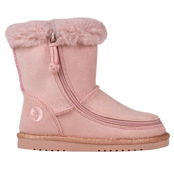 Toddler Blush BILLY Cozy Boots, zipper shoes, like velcro, that are adaptive, accessible, inclusive and use universal design to accommodate an afo. Footwear is medium and wide width, M, D and EEE, are comfortable, and come in toddler, kids, mens, and womens sizing.