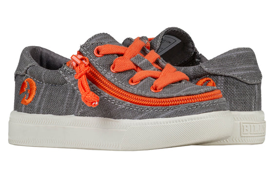 Toddler Grey/Orange BILLY Classic Lace Lows, zipper shoes, like velcro, that are adaptive, accessible, inclusive and use universal design to accommodate an afo. Footwear is medium and wide width, M, D and EEE, are comfortable, and come in toddler, kids, mens, and womens sizing.