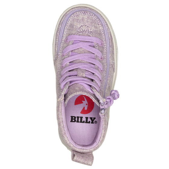 Toddler Lilac BILLY Classic Lace Highs, zipper shoes, like velcro, that are adaptive, accessible, inclusive and use universal design to accommodate an afo. Footwear is medium and wide width, M, D and EEE, are comfortable, and come in toddler, kids, mens, and womens sizing.
