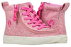 Toddler Heather Pink BILLY Classic Lace Highs, zipper shoes, like velcro, that are adaptive, accessible, inclusive and use universal design to accommodate an afo. Footwear is medium and wide width, M, D and EEE, are comfortable, and come in toddler, kids, mens, and womens sizing.