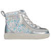 Toddler Unicorn Metallic Glitter BILLY Classic Lace Highs, zipper shoes, like velcro, that are adaptive, accessible, inclusive and use universal design to accommodate an afo. Footwear is medium and wide width, M, D and EEE, are comfortable, and come in toddler, kids, mens, and womens sizing.