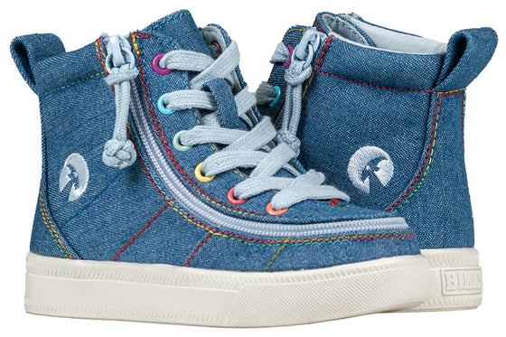 Toddler Denim Rainbow Thread BILLY Classic Lace Highs, zipper shoes, like velcro, that are adaptive, accessible, inclusive and use universal design to accommodate an afo. Footwear is medium and wide width, M, D and EEE, are comfortable, and come in toddler, kids, mens, and womens sizing.