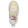 Toddler Sherbet Tie Dye BILLY Classic Lace Highs, zipper shoes, like velcro, that are adaptive, accessible, inclusive and use universal design to accommodate an afo. Footwear is medium and wide width, M, D and EEE, are comfortable, and come in toddler, kids, mens, and womens sizing.