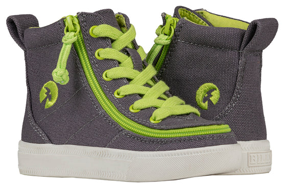 Toddler Charcoal/Acid Green BILLY Classic Lace Highs, zipper shoes, like velcro, that are adaptive, accessible, inclusive and use universal design to accommodate an afo. Footwear is medium and wide width, M, D and EEE, are comfortable, and come in toddler, kids, mens, and womens sizing.