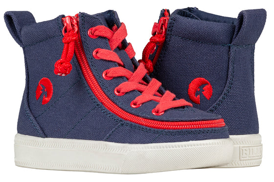 Toddler Navy/Red BILLY Classic Lace Highs, zipper shoes, like velcro, that are adaptive, accessible, inclusive and use universal design to accommodate an afo. Footwear is medium and wide width, M, D and EEE, are comfortable, and come in toddler, kids, mens, and womens sizing.