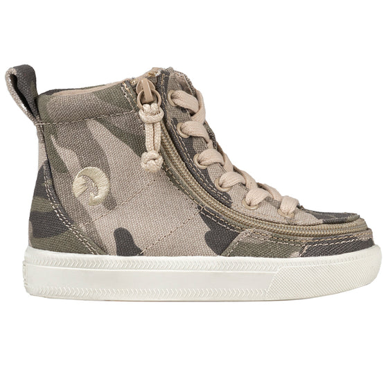 Toddler Natural Camo BILLY Classic Lace Highs, zipper shoes, like velcro, that are adaptive, accessible, inclusive and use universal design to accommodate an afo. Footwear is medium and wide width, M, D and EEE, are comfortable, and come in toddler, kids, mens, and womens sizing.