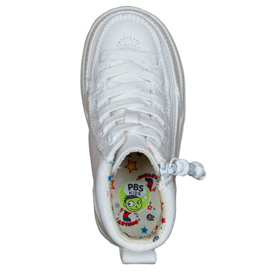 Toddler White Arthur BILLY Classic Lace Highs, zipper shoes, like velcro, that are adaptive, accessible, inclusive and use universal design to accommodate an afo. Footwear is medium and wide width, M, D and EEE, are comfortable, and come in toddler, kids, mens, and womens sizing.