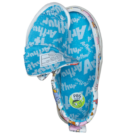 Toddler All Over Print Arthur BILLY Classic Lace Highs, zipper shoes, like velcro, that are adaptive, accessible, inclusive and use universal design to accommodate an afo. Footwear is medium and wide width, M, D and EEE, are comfortable, and come in toddler, kids, mens, and womens sizing.