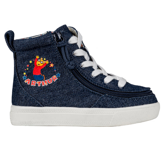 Toddler Blue Denim Arthur BILLY Classic Lace Highs, zipper shoes, like velcro, that are adaptive, accessible, inclusive and use universal design to accommodate an afo. Footwear is medium and wide width, M, D and EEE, are comfortable, and come in toddler, kids, mens, and womens sizing.
