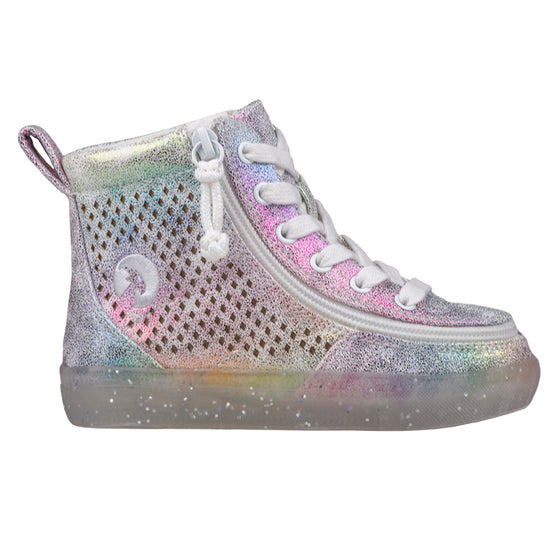 Toddler Rainbow Crackle BILLY Classic Lace Highs, zipper shoes, like velcro, that are adaptive, accessible, inclusive and use universal design to accommodate an afo. Footwear is medium and wide width, M, D and EEE, are comfortable, and come in toddler, kids, mens, and womens sizing.