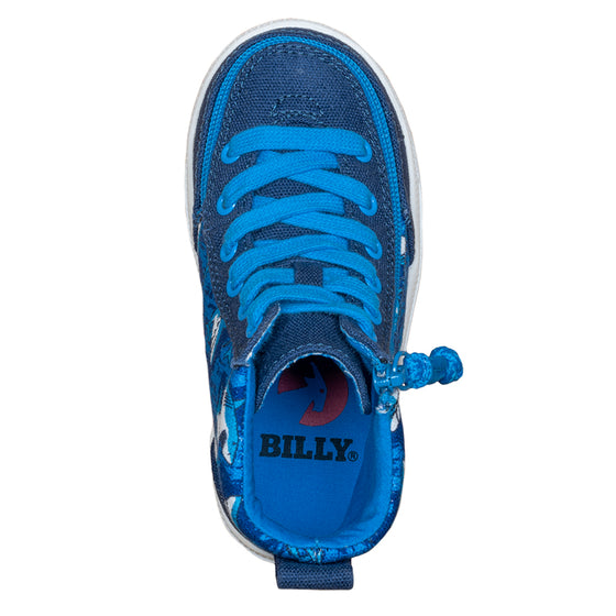 Toddler Blue Sharks BILLY Classic Lace Highs, zipper shoes, like velcro, that are adaptive, accessible, inclusive and use universal design to accommodate an afo. Footwear is medium and wide width, M, D and EEE, are comfortable, and come in toddler, kids, mens, and womens sizing.