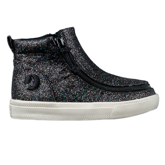 Toddler Black Glitter BILLY Mid Tops, zipper shoes, like velcro, that are adaptive, accessible, inclusive and use universal design to accommodate an afo. Footwear is medium and wide width, M, D and EEE, are comfortable, and come in toddler, kids, mens, and womens sizing.