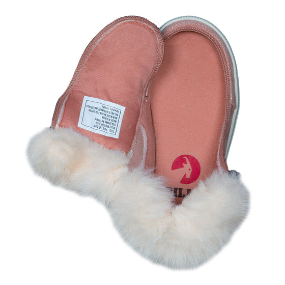 Toddler Blush Shimmer BILLY Mid Top Luxes, zipper shoes, like velcro, that are adaptive, accessible, inclusive and use universal design to accommodate an afo. Footwear is medium and wide width, M, D and EEE, are comfortable, and come in toddler, kids, mens, and womens sizing.
