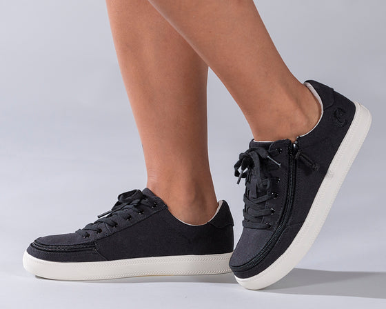 Women's Black BILLY Classic Lace Lows, zipper shoes, like velcro, that are adaptive, accessible, inclusive and use universal design to accommodate an afo. Footwear is medium and wide width, M, D and EEE, are comfortable, and come in toddler, kids, mens, and womens sizing.