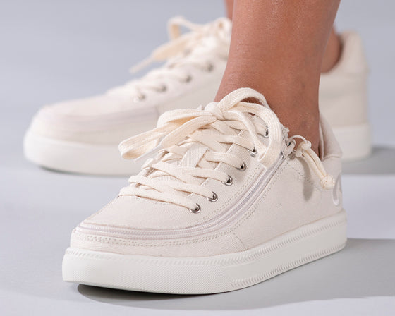 Women's Natural BILLY Classic Lace Lows, zipper shoes, like velcro, that are adaptive, accessible, inclusive and use universal design to accommodate an afo. Footwear is medium and wide width, M, D and EEE, are comfortable, and come in toddler, kids, mens, and womens sizing.