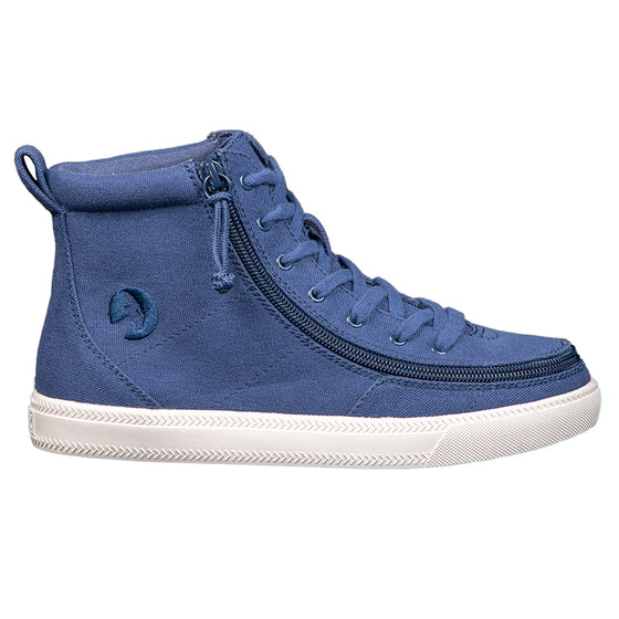 Women's Navy BILLY Classic Lace Highs, zipper shoes, like velcro, that are adaptive, accessible, inclusive and use universal design to accommodate an afo. Footwear is medium and wide width, M, D and EEE, are comfortable, and come in toddler, kids, mens, and womens sizing.