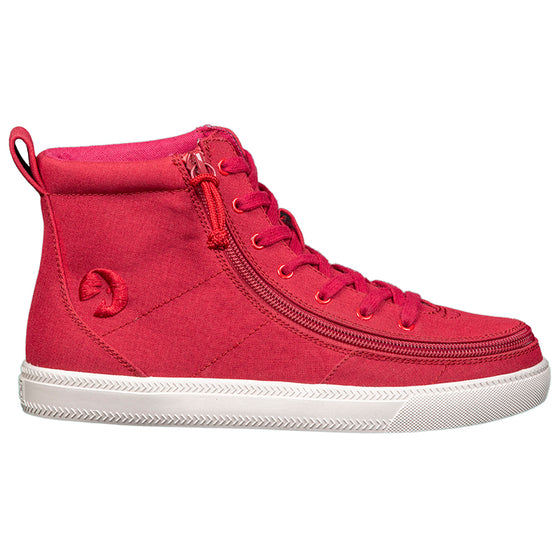 Women's Red BILLY Classic Lace Highs, zipper shoes, like velcro, that are adaptive, accessible, inclusive and use universal design to accommodate an afo. Footwear is medium and wide width, M, D and EEE, are comfortable, and come in toddler, kids, mens, and womens sizing.