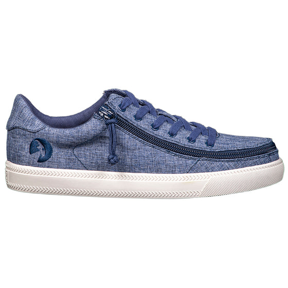 Women's Navy Jersey BILLY Classic Lace Lows, zipper shoes, like velcro, that are adaptive, accessible, inclusive and use universal design to accommodate an afo. Footwear is medium and wide width, M, D and EEE, are comfortable, and come in toddler, kids, mens, and womens sizing.