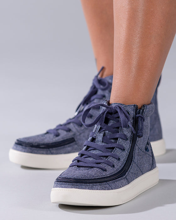 Women's Navy Jersey BILLY Classic Lace Highs, zipper shoes, like velcro, that are adaptive, accessible, inclusive and use universal design to accommodate an afo. Footwear is medium and wide width, M, D and EEE, are comfortable, and come in toddler, kids, mens, and womens sizing.