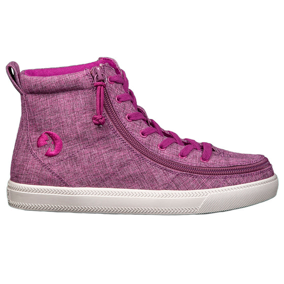 Women's Berry Jersey BILLY Classic Lace Highs, zipper shoes, like velcro, that are adaptive, accessible, inclusive and use universal design to accommodate an afo. Footwear is medium and wide width, M, D and EEE, are comfortable, and come in toddler, kids, mens, and womens sizing.
