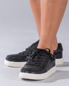Women's Black Shine BILLY Classic Lace Lows, zipper shoes, like velcro, that are adaptive, accessible, inclusive and use universal design to accommodate an afo. Footwear is medium and wide width, M, D and EEE, are comfortable, and come in toddler, kids, mens, and womens sizing.