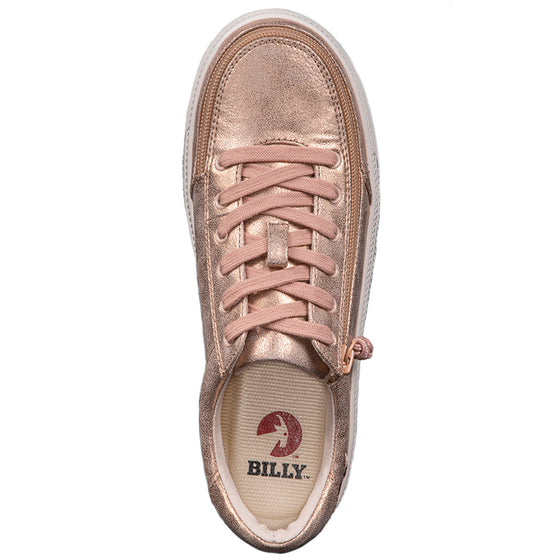 Women's Rose Gold Shine BILLY Classic Lace Lows, zipper shoes, like velcro, that are adaptive, accessible, inclusive and use universal design to accommodate an afo. Footwear is medium and wide width, M, D and EEE, are comfortable, and come in toddler, kids, mens, and womens sizing.