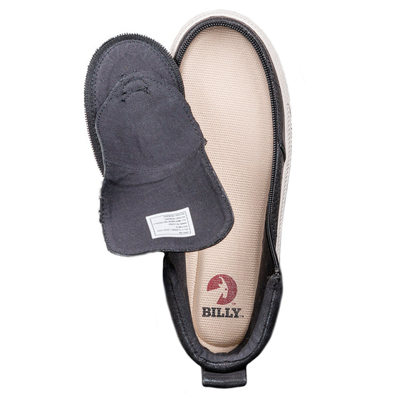 Women's Black Shine BILLY Classic Lace Highs, zipper shoes, like velcro, that are adaptive, accessible, inclusive and use universal design to accommodate an afo. Footwear is medium and wide width, M, D and EEE, are comfortable, and come in toddler, kids, mens, and womens sizing.