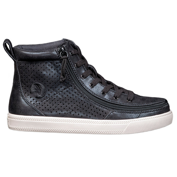 Women's Black Shine BILLY Classic Lace High, zipper, shoes, velcro, adaptive, accessible, afo, universal, kids, comfortable, BILLY Footwear