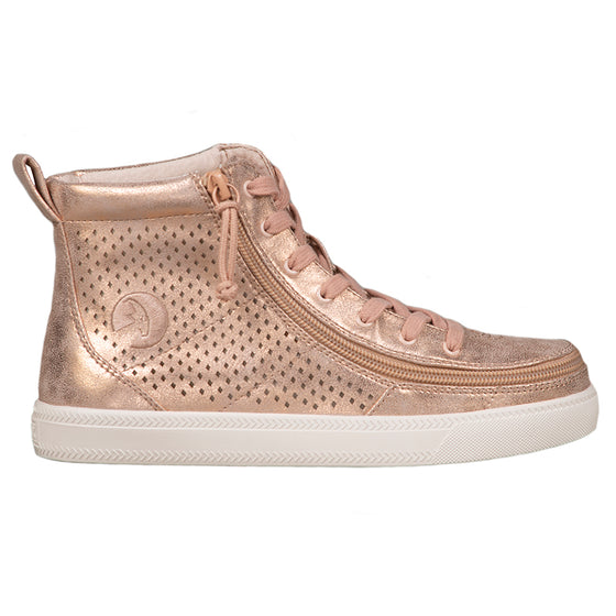 Women's Rose Gold Shine BILLY Classic Lace Highs, zipper shoes, like velcro, that are adaptive, accessible, inclusive and use universal design to accommodate an afo. Footwear is medium and wide width, M, D and EEE, are comfortable, and come in toddler, kids, mens, and womens sizing.