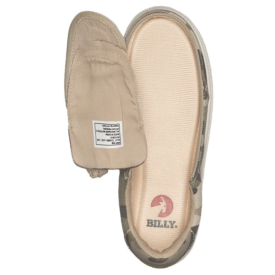 Women's Natural Camo BILLY Classic Lace Lows, zipper shoes, like velcro, that are adaptive, accessible, inclusive and use universal design to accommodate an afo. Footwear is medium and wide width, M, D and EEE, are comfortable, and come in toddler, kids, mens, and womens sizing.